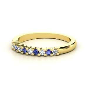 Slim Nine Gem Band Ring, 14K Yellow Gold Ring with Diamond