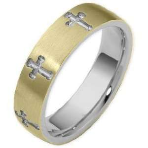 14 Karat Two Tone Gold Religious Multi Texture Cross Band Ring