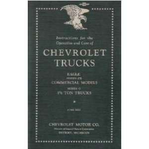 1933 CHEVROLET TRUCK Series CB O Owners Manual Guide