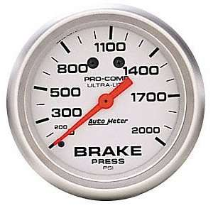 Auto Meter 4426 Ultra Lite 2 5/8 0 2000 PSI Mechanical Brake Pressure