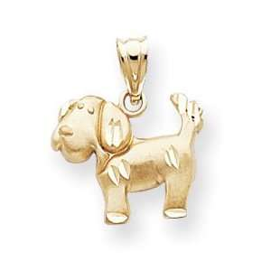 14k Diamond Cut Dog Charm   Measures 18.8x15.8mm   JewelryWeb Jewelry