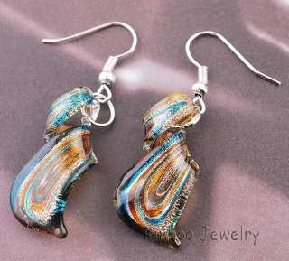Charm Twisty Striped Lampwork Murano Glass Necklace Earring Set Silver