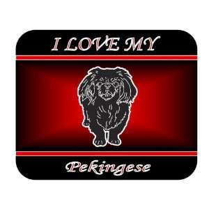 I Love My Pekingese Dog Mouse Pad   Red Design