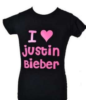 LOVE JUSTIN BIEBER BLACK KIDS T SHIRT & PINK AGE 5 15