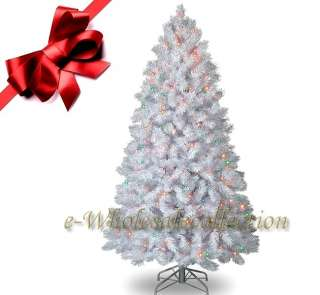 PRE LIT MULTI COLOR ARTIFICIAL WHITE CHRISTMAS TREE