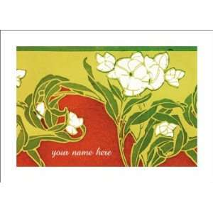 Personalized Stationery Note Cards with Art Nouveau Lily