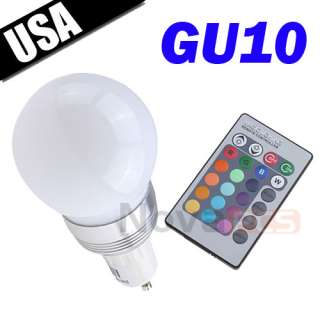 3W MR16 Color Change RGB LED Light Bulb Remote Control