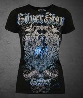 Anderson Silva Spider SILVER STAR Womens T shirt Blue