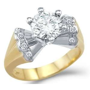 Size  13   Solid 14k Two Tone Gold Engagement Wedding Solitaire