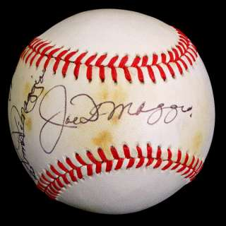 JOE, VINCE & DOM DiMAGGIO SIGNED AUTOGRAPHED OAL BASEBALL BALL PSA/DNA