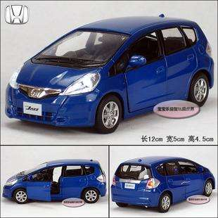 New Honda Fit 132 Alloy Diecast Model Car Toy With Sound & Light Blue