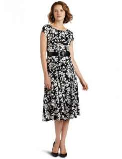 NWT Jessica Howard Belted Floral Jersey Black & White Dress 14