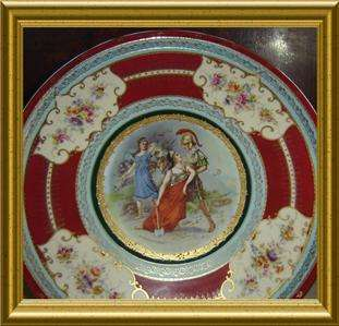 ANTIQUE ROYAL VIENNA 14 in diameter PLATE,CHARGER Greek Mythology