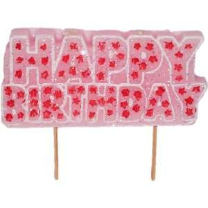 Party Girl   Glitter Pink Happy Birthday Candle
