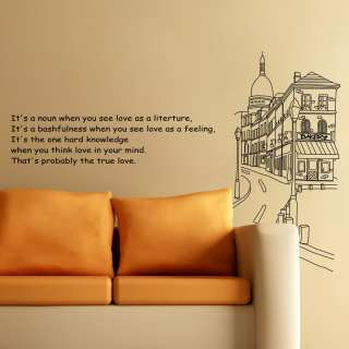 STREET SCENE & LOVE QUOTE SAYING Wall Sticker Decal BIG