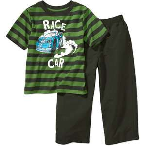 New Boys Toddler Striped Car Shirt Top Tee Pants 2 PC Outfit Set