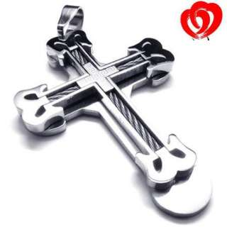 New Men Women Stainless Steel Cross Pendant Necklace