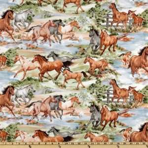 Cattle Call Horses Tan/Green Fabric By The Yard Arts, Crafts & Sewing