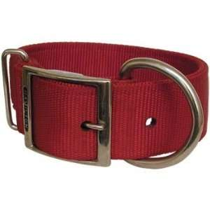 Red 2 Ply Nylon Buckle Collar   Small Wide