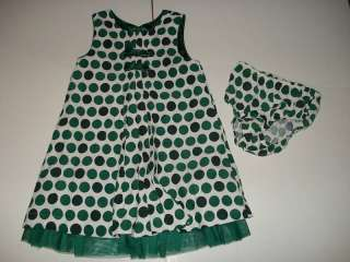 The Childrens Place Green Polka Dot Dress 3T LN CQ