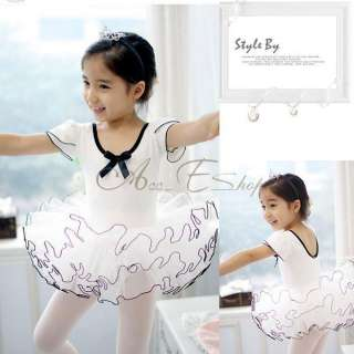 Party White Leotard Fairy Ballet TuTu Skate Costume Dress 3 8Y