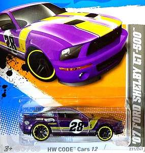 Hot Wheels   HW CODE Cars 12   07 Ford Shelby GT 500 H case