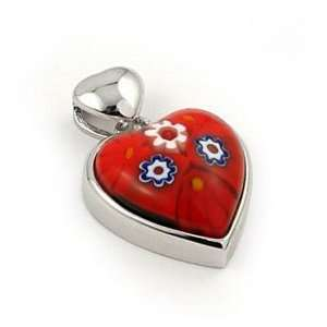 Red Murano Glass Millefiori Small Heart Sterling Silver