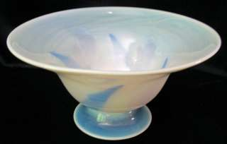 Vintage Hand Blown Art Glass Pedestal Bowl Signed Dated