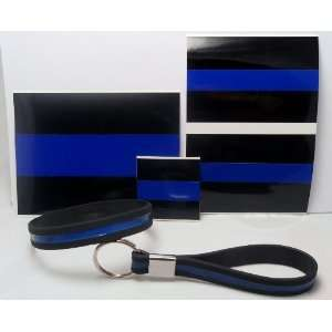 Thin Blue Line Decal Stickers, Wristband and Keychain Gift