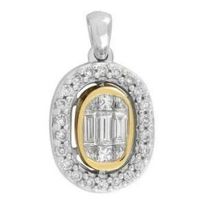 14k TWO TONE GOLD WOMENS PENDANT LP 3061 DIAMOND 0.47CT