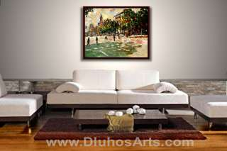MODERN BARCELONA CITYSCAPE Palette Knife ORIGINAL ART Oil Paintings