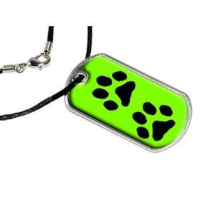 Paw Prints Green   Military Dog Tag Black Satin Cord