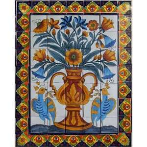 Mexican hand painted tile mural