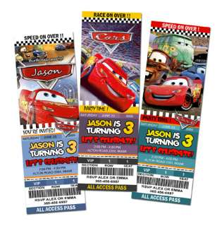 CARS DISNEY MCQUEEN 1 2 BIRTHDAY PARTY INVITATION TICKET CUSTOM INVITE