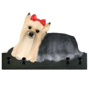 Show Cut Yorkie Dog Figurine Key Ring and Leash Holder