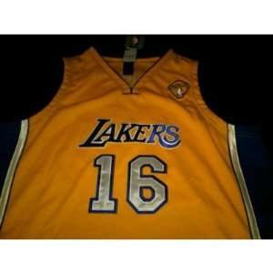 Pau Gasol Authentic Gold Los Angeles Lakers Jersey Sizes 54