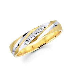 Size  4.5   .05ct Diamond 14k Yellow Two Tone Gold Wedding