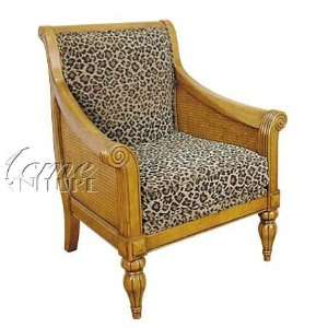Accent Chair Leopard Print Fabric Oak Finish