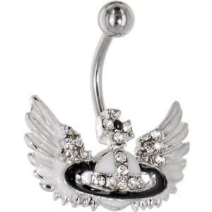 Crystalline Gem Iron Cross Wings Belly Ring Jewelry