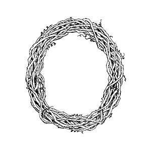 Large Grapevine Wreath    Wood Mounted Stamp (4 1/4 x 4 3