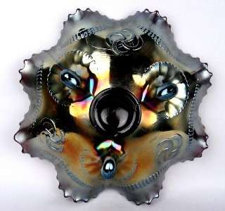 WISHBONE by NORTHWOOD ~ STUNNING AMETHYST CARNIVAL GLASS RUFFLED
