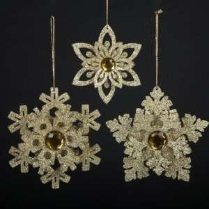 Club Pack of 24 Gold Glittered & Jeweled Wooden Snowflake Christmas