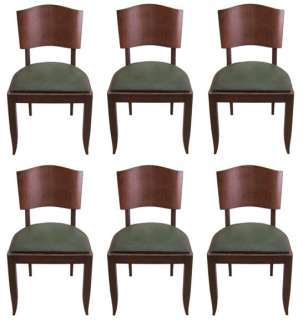 Set of 6 French Art Deco Mahogany Dining Chairs