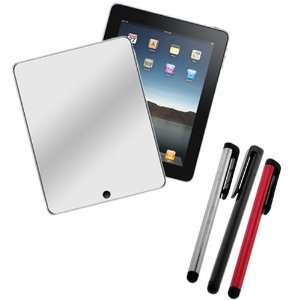 Full Front Mirror LCD Screen Protector Film Guard + Stylus Pen(Silver