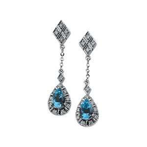 14K White Gold Aquamarine & Diamond Earrings Shula NY Jewelry