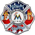 Miami Marlins Flag Fan Fire Fighter sticker, Decal, IAFF