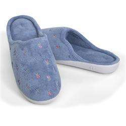 Isotoner BLUE Embroidered Terry Clog Slipper Ladies NEW 022653925929
