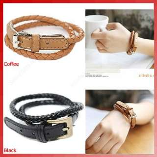 Korean Style Fashion Weaved Leather Double Wrap Belt Bracelet