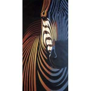 Colorful Modern Zebra I Oil Painting 62 x 31 inches