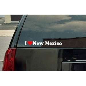 I Love New Mexico Vinyl Decal   White with a red heart